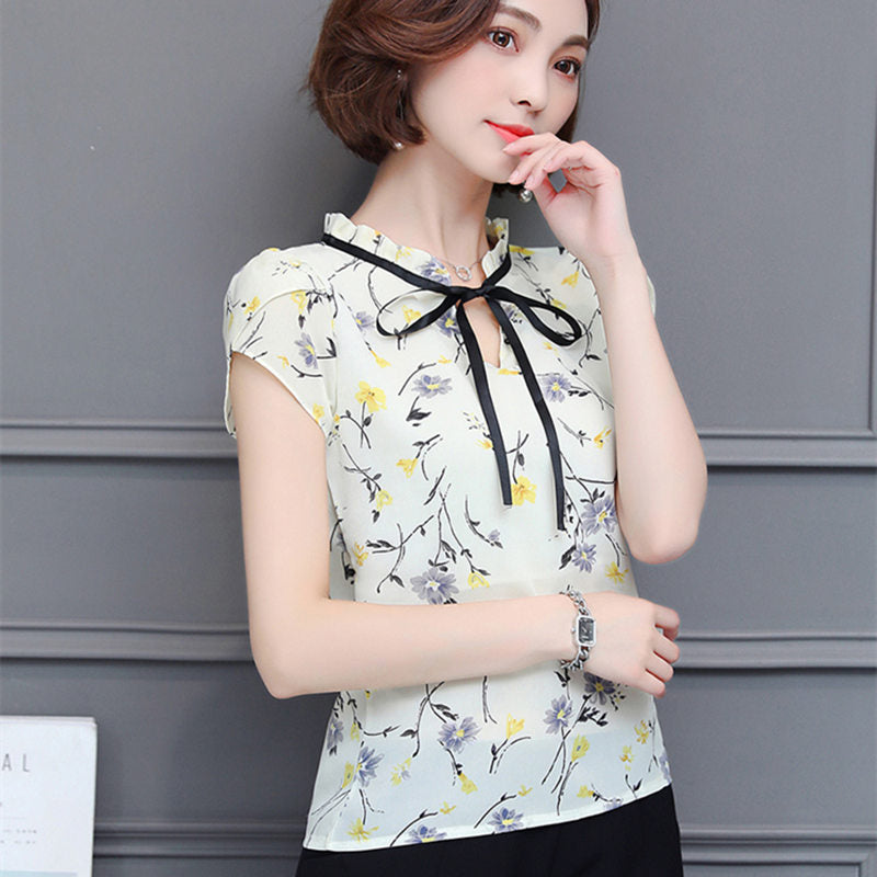 5000aec629d5 ... New Floral Chiffon Blouses Women Summer Tops And Shirts Bow Sweet Blouse  ...