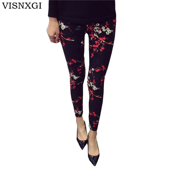 Print Flower Leggings Leggins Plus Size Leggings