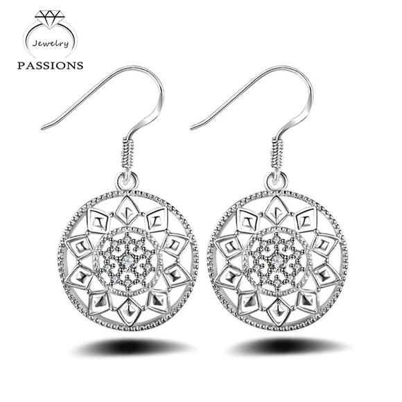 Newest Bohemian Exquisite Round Drop Earrings Sterling Silver Sun Flower Pendant