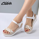 Female Sandals Shoes Wedge Platform Leather Ladies Buckle Sandals High Heels
