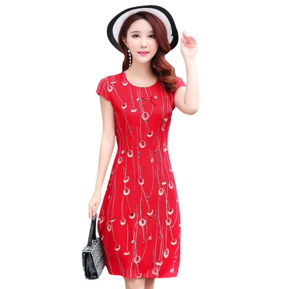Plus Size Promotion New  Women Dress Round Neck Short-sleeved Cotton Printed