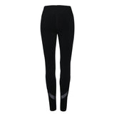 Women's Yoga Leggings Plus Size Mesh Patchwork Leggings Activewear Black Sportswear