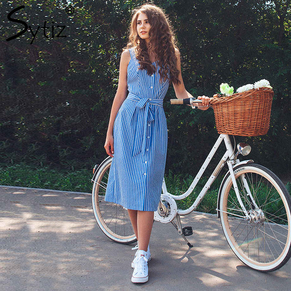 Blue Striped Dress Bow Bandage Sexy Summer Off Shoulder Women Party Dress