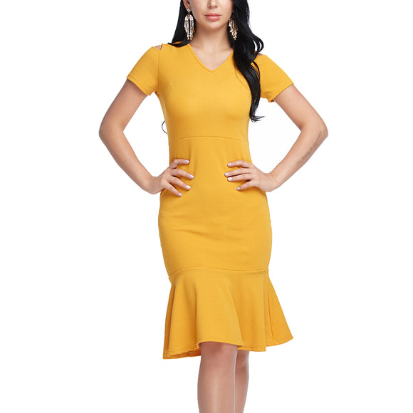 Trumpet Dress Plus Size Yellow Dress Fashion V Neck Work Dress Vestidos Red Short Sleeve