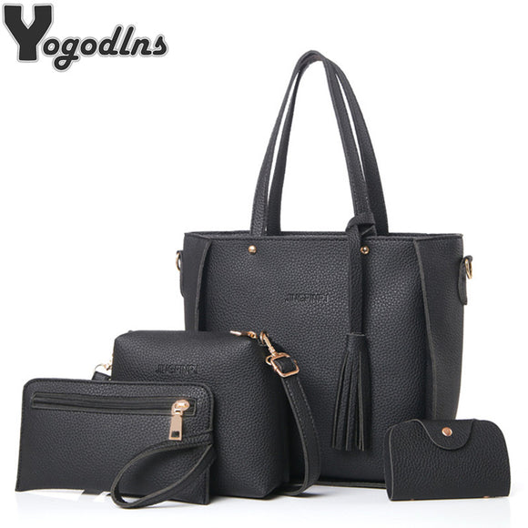 Women Bag Set Top-Handle Big Capacity Female Tassel Handbag