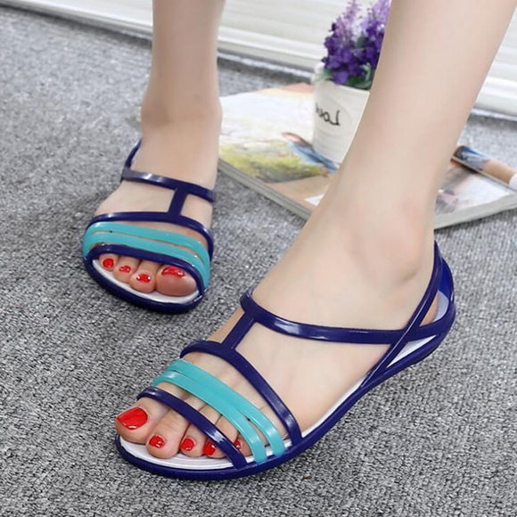 Women sandals summer Rainbow jelly shoes casual flat beach shoes women