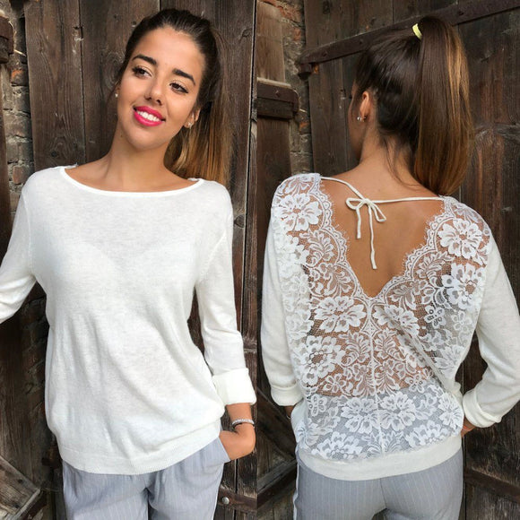 Blouse women white lace blouses Women Backless O-Neck Lace Long Sleeve Sweatshirt