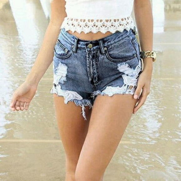 JECKSION Sexy Fashion Women Jeans Shorts High Waist Tassel Hole Shorts Denim Lace Short