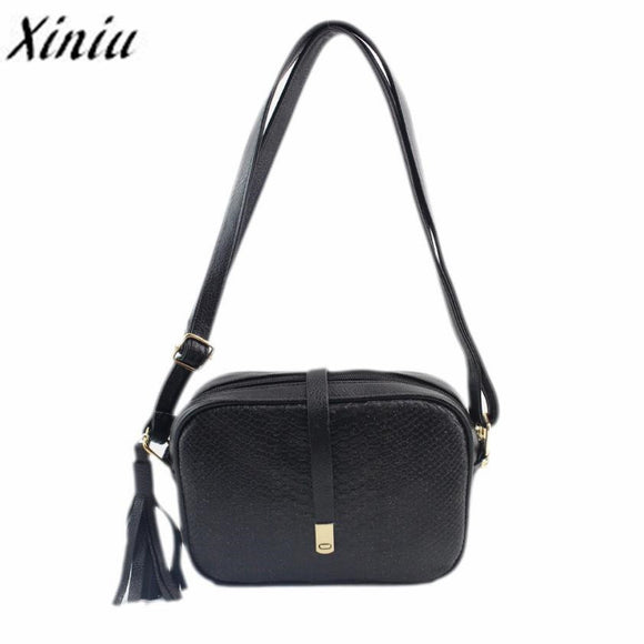 Xiniu Bags Women Fashion Business Handbag Fashion solid Crocodile Pattern Tassel Shoulder Bag Ladies Purse