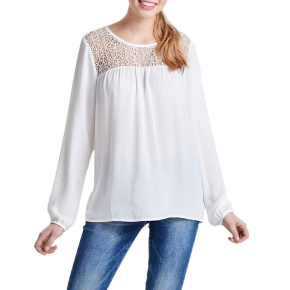 Sexy White Lace Blouse Shirt Women Tops Elegant Hollow Out Blouse Autumn Solid O-Neck Chiffon Chemise Femme Top Blusas