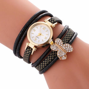 Fashion Top Brand GENVIVIA Elegant Ladies Women Quartz Watch Bracelet Diamond Butterfly Circle Watch Student Table Watch relogio
