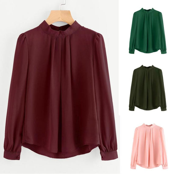 Elegant Workwear Solid Blouse Women Autumn Long Sleeve Tops Fold Loose Casual Hollow Out Chiffon Shirt Blusas Green Pink Wine