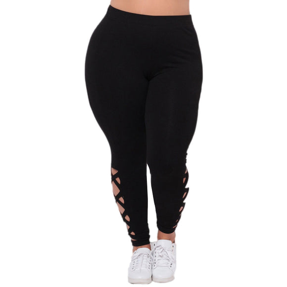 2017 Women Plus Size Elastic Leggings Solid Criss-Cross Hollow Out Sport Pants Athletic Running Leggings XXL #11