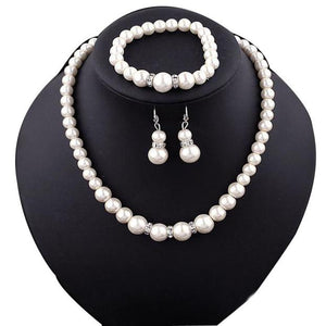 Natural Freshwater Pearl Necklace Bracelet Earrings fashion Jewelry Set