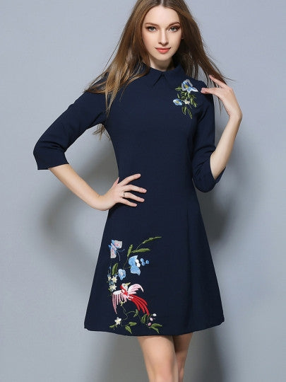 Lapel Embroidery Women's Day Dress