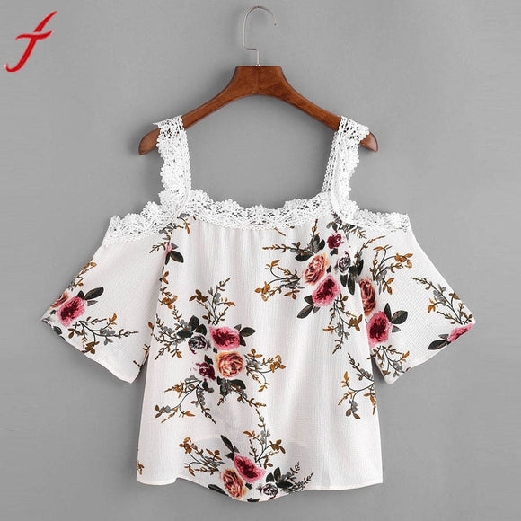 Cold Shoulder Women Blouses 2017 Sexy Print Cami Casual Summer Appliques Tops New Elegant Beach Draped Blouse
