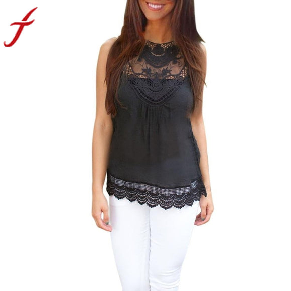 JECKSION Summer Women Blouse 2016 Fashion Black Tops Sleeveless Blouse Casual Lace Blouse Top woman