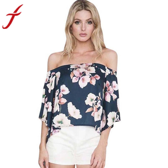 Fashion Sexy Cold Shoulder Flare Sleeve Blouse Women Floral Print Blouses Casual Slash Neck Tops Shirt Elegant beach party blusa