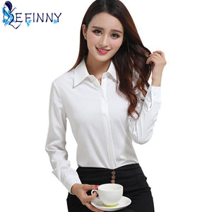 BEST Selling Female Business Shirt Classic Women Formal Full Sleeve Collar Slim Blouse