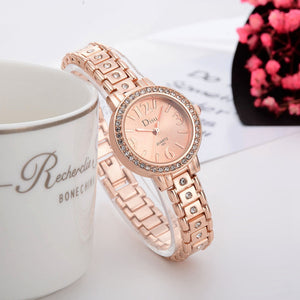Rose Gold Plated Women's Elegant Rhinestone Bracelet Fashion Watches