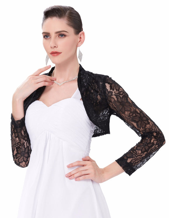 Sexy Lace Jacket Womens Ladies Long Sleeve Cropped Shrug Black White Coat 2017 Plus Size Fashion Lace Bolero Outerwear Coats