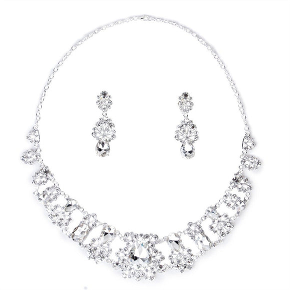 Women Bridal Jewelry Set Crystal Pendant Necklace & Earrings Sets