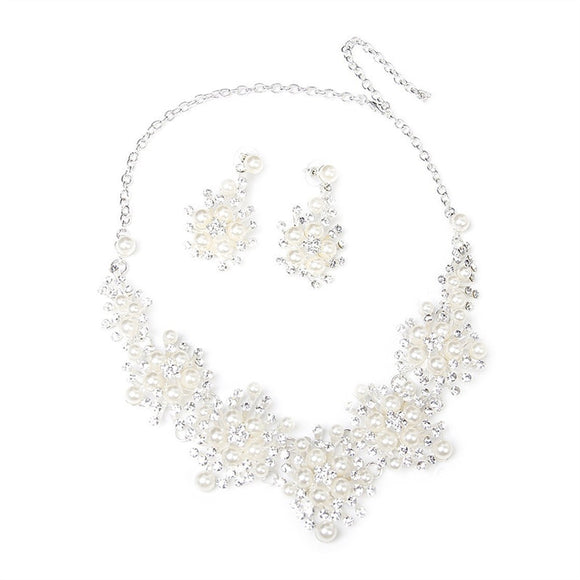 Wedding Party Pearl Rhinestone Decorated Necklace Earrings Set