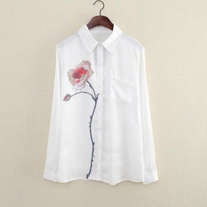 Women Long Sleeve Rose Flower Blouse Turn Down Collar Chiffon Shirt