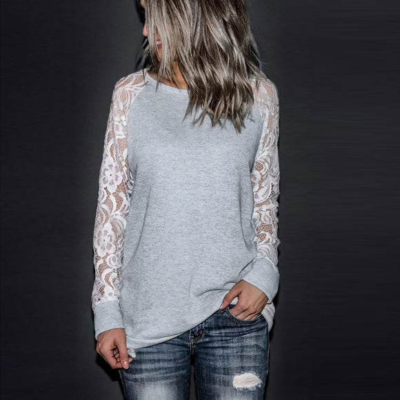 Fashion Womens Casual Lace Long Sleeve Crop O-Neck Pullover T-Shirt Blouse Tops