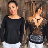 Women Backless O-Neck Lace Long Sleeve Sweatshirt Pullover Tops Blouse Shirt
