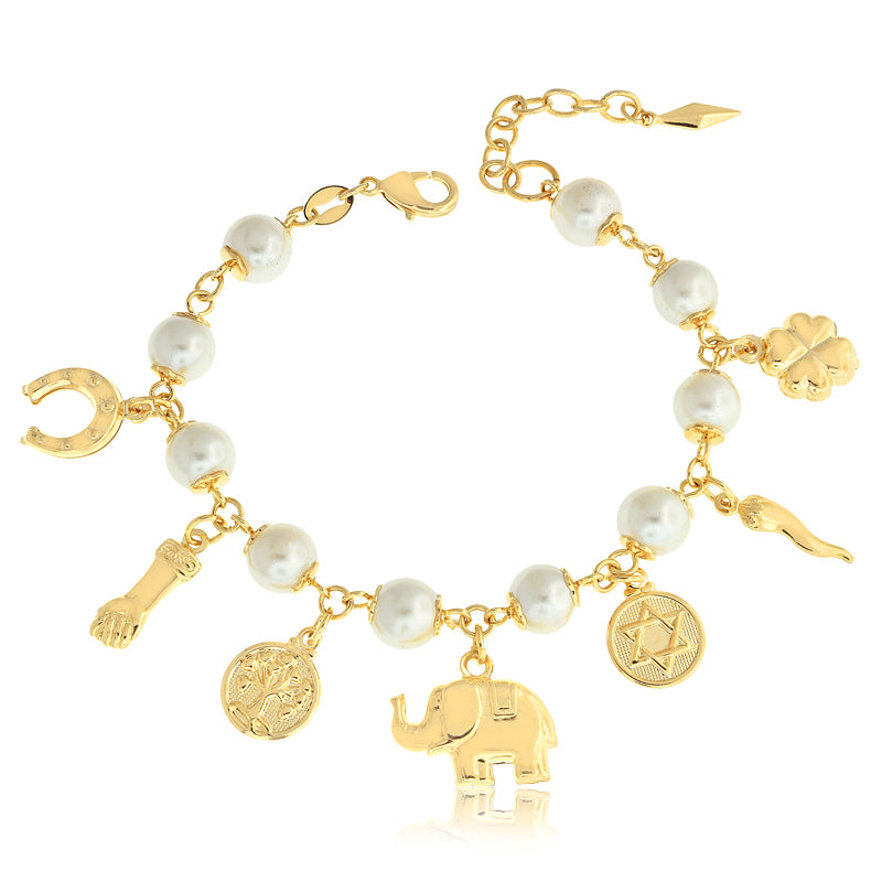 14k Gold Filled Bracelet Pearl & Lucky Charms Mojo Beads Women Jewelry - Jewelry Paradise
