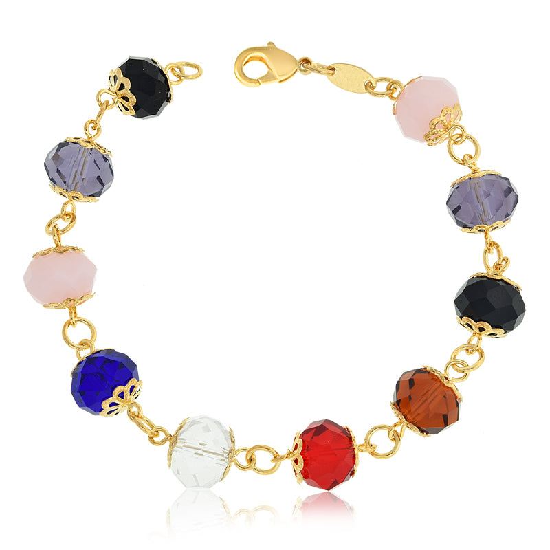 14k Gold Filled Women Bracelet Colorful  Birthstone Crystals Fashion Jewelry Beads - Jewelry Paradise