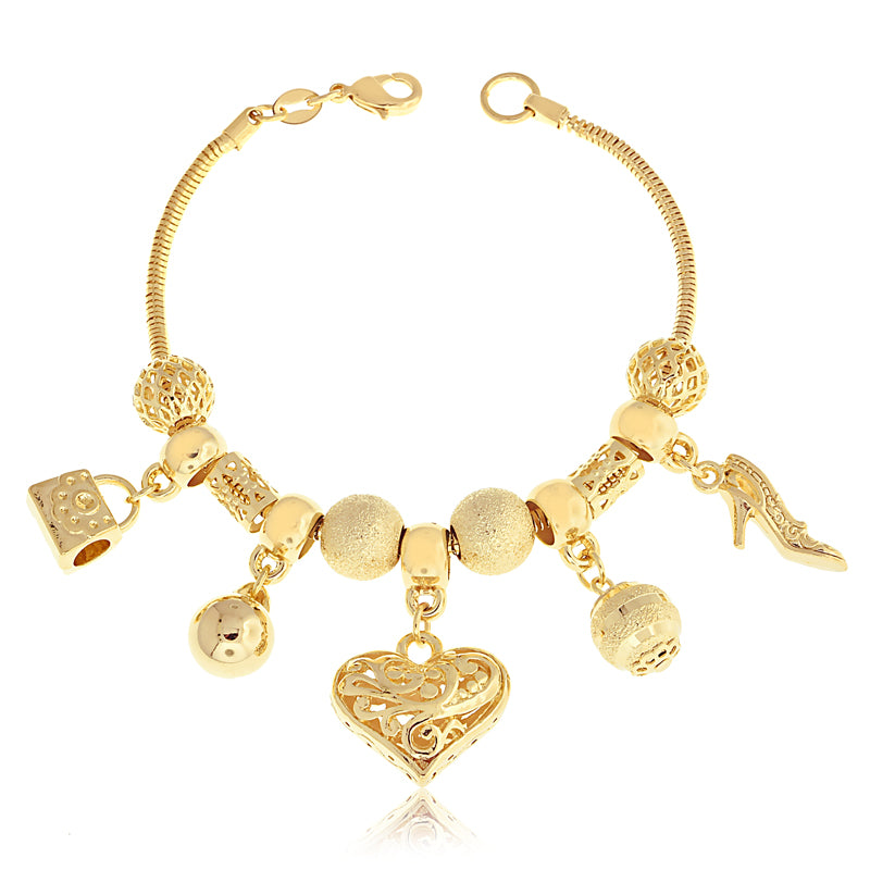 14k PANDORA-Like Gold Filled Heart Charm Bracelet High Heel Shoe Jewelry - Jewelry Paradise