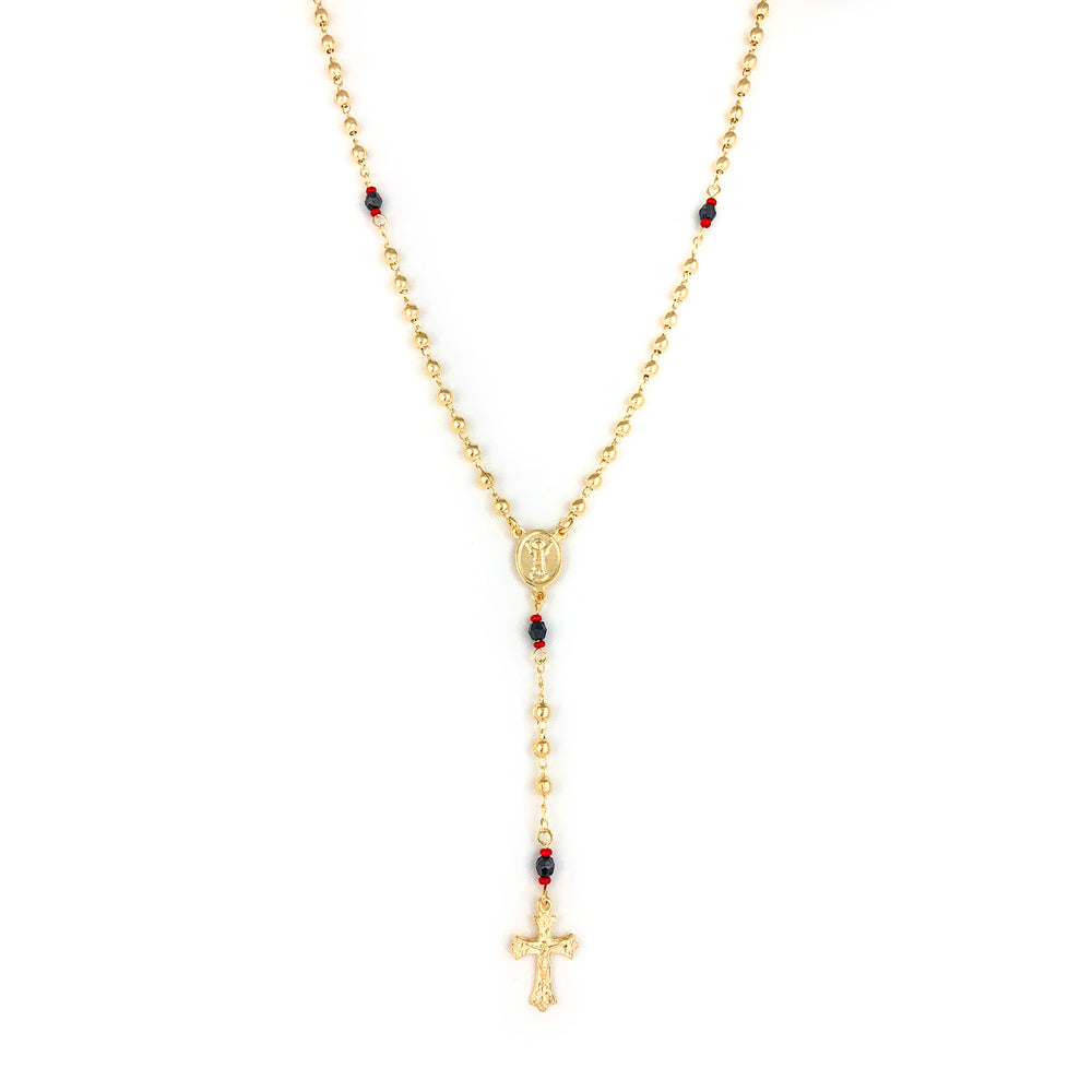 GOLD FILLED ROSARY NECKLACE Red-Black Azabache Beads Divine Child Medal and cross - Jewelry Paradise