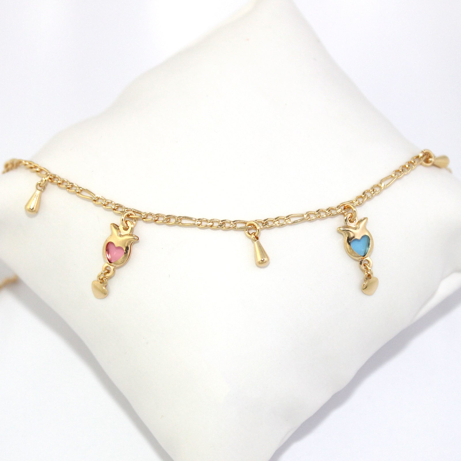sterling silver bracelets gold rolo charms cherry adornment with a enamel delightful caymancode chain charm anklet ankle cute