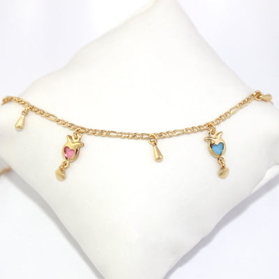 Multicolor Heart Charms Bracelet for Wrist and Ankle Women Design - Jewelry Paradise