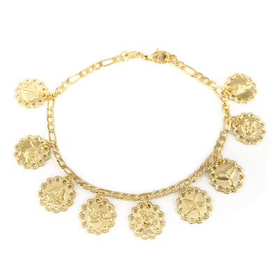 14k Gold Filled Bracelet Beach Theme Charms Women Jewelry Pulsera Fantasia - Jewelry Paradise