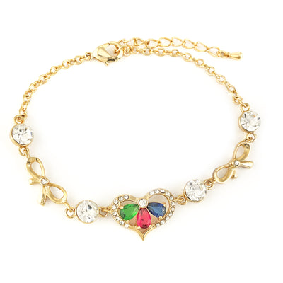 Gold Filled Bracelet HEART Love Gems & Rhinestones Women Jewelry Laces Amor - Jewelry Paradise