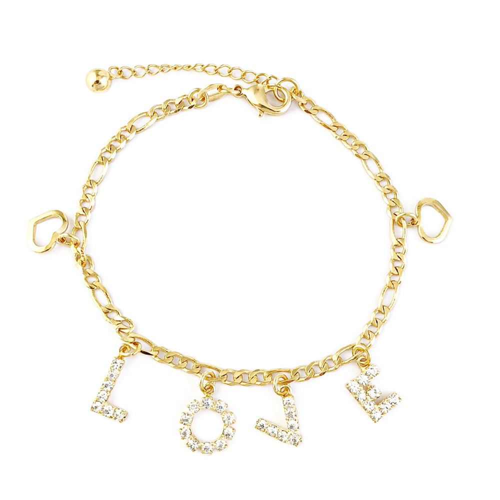 Yellow Gold Filled LOVE Rhinestone Charm Bracelet and Hearts Women - Jewelry Paradise