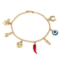 14k Gold Filled 7 Lucky Charm Bracelet Chain Evil Eye Protection Love Abundance - Jewelry Paradise