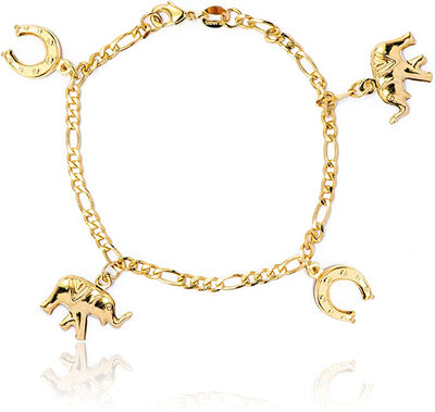 14k Women and Girls Horseshoes and Elephant Charm Bracelet for Good Luck Wisdom - Jewelry Paradise