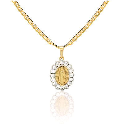 "Women's 14k Gold-Plated 3mm Mariner Link Chain & Cubic Zirconia CZ Pendant Necklace 18"" - Jewelry Paradise"