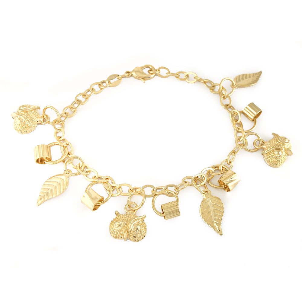 Gold Filled Charm Bracelet WISE OWL Bird Women Jewelry Length 7.5 inches Buho Lechuza Pulsera Luck - Jewelry Paradise