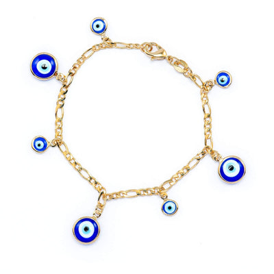 Two Tones Blue Turkish Evil Eye Nazar Charm Bracelet - Jewelry Paradise