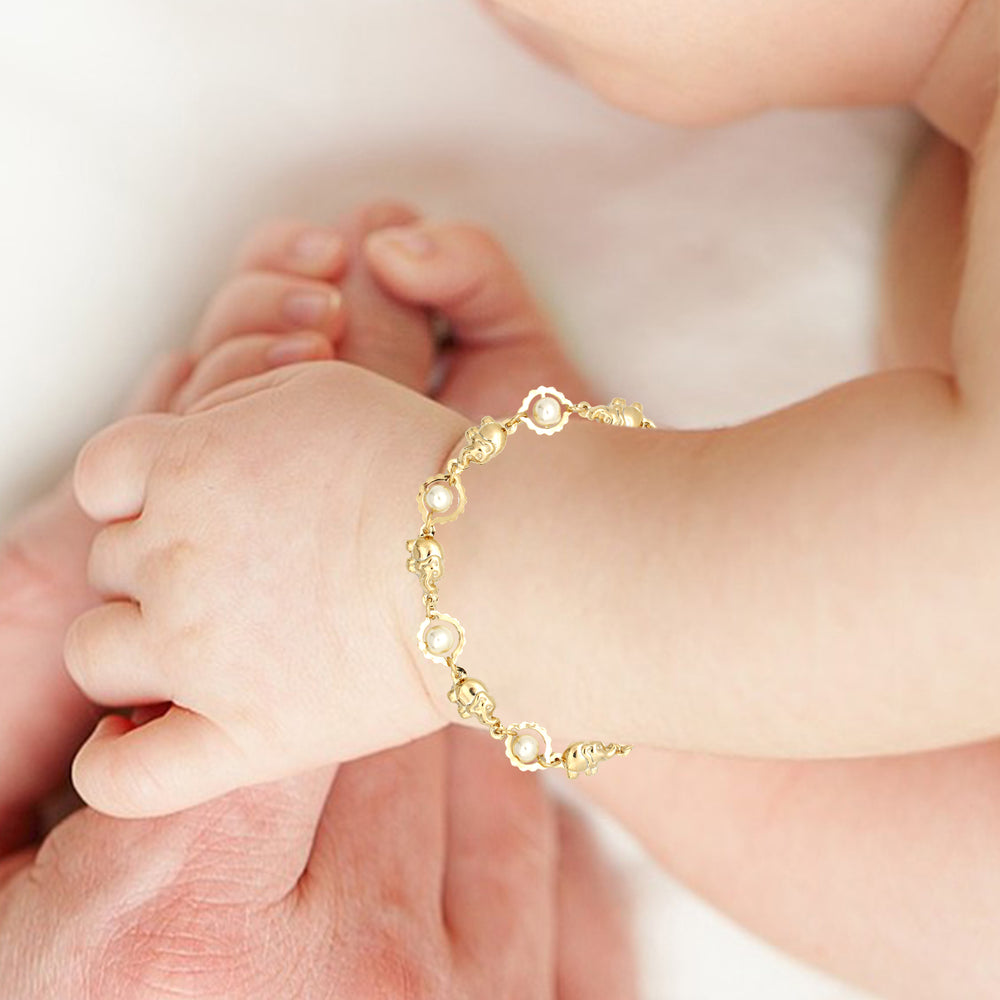 Pearls & Elephant Charm Bracelets Gold Filed Good Luck Yoga Success Protection - Jewelry Paradise