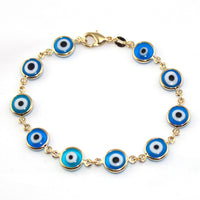 "Gold Filled Charm Bracelet Big BLUE-Turkish Evil Eye Fashion Jewelry Chain 8"" Pulsera Ojo Turco - Jewelry Paradise"