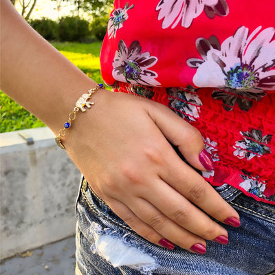 Big Elephant and Blue Turkish Evil Eye Charm Bracelet for Girls and Women for Protection Prosperity Good Luck Abundance Elefante y Ojo Azul Turco Pulsera Suerte Proteccion - Jewelry Paradise