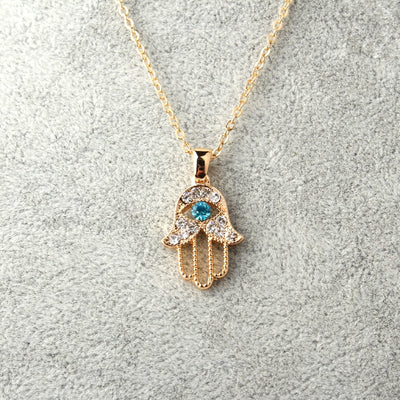 Turkish Crystal Evil Eye Hand Hamsa Pendant Necklace Womens Silver Gold Color Jewelry Hollow Out Clavicle Link Chains - Jewelry Paradise