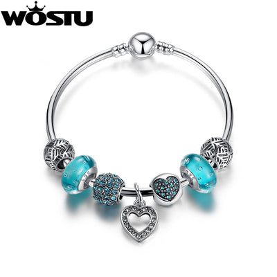Silver Blue Heart Charm Bangle & Bracelet For Women Fashion Original DIY Beads Jewelry Lover's Gift - Jewelry Paradise