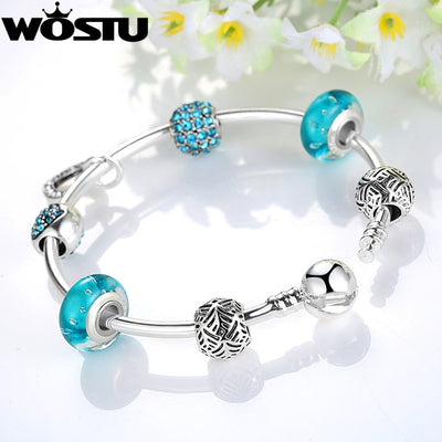 Hot Sale Silver Blue Heart Charm Bangle & Bracelet For Women Fashion Original DIY Beads Jewelry Lover's Gift - Jewelry Paradise